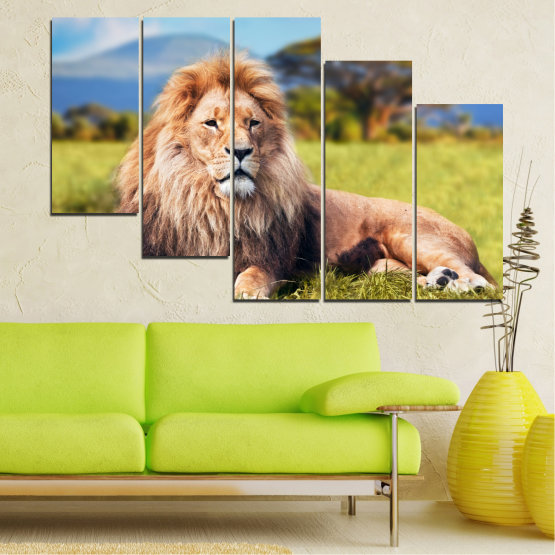 Canvas prints & wall decorative panels - 5 pieces №0169 » Blue, Green, Yellow, Brown, Gray, Beige, Dark grey » Nature, Animal, Lion Form #7