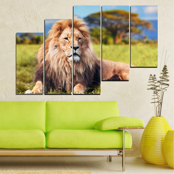 Canvas prints & wall decorative panels - 5 pieces №0169 » Blue, Green, Yellow, Brown, Gray, Beige, Dark grey » Nature, Animal, Lion Form #8