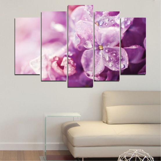 Canvas prints & wall decorative panels - 5 pieces №0170 » Purple, Gray, Milky pink, Dark grey » Flowers, Drops, Lilac Form #1