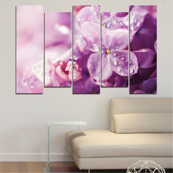 Canvas prints & wall decorative panels - 5 pieces №0170 » Purple, Gray, Milky pink, Dark grey » Flowers, Drops, Lilac Form #3