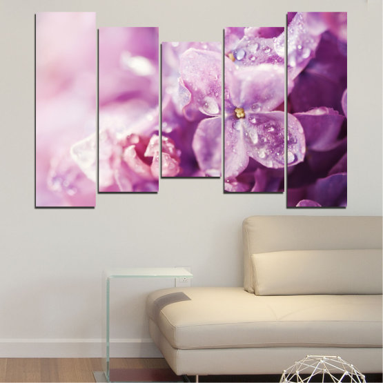 Canvas prints & wall decorative panels - 5 pieces №0170 » Purple, Gray, Milky pink, Dark grey » Flowers, Drops, Lilac Form #4