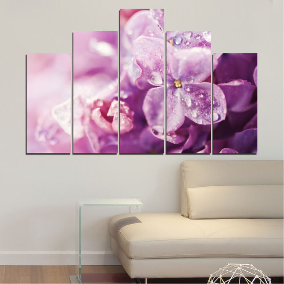 Canvas prints & wall decorative panels - 5 pieces №0170 » Purple, Gray, Milky pink, Dark grey » Flowers, Drops, Lilac Form #5