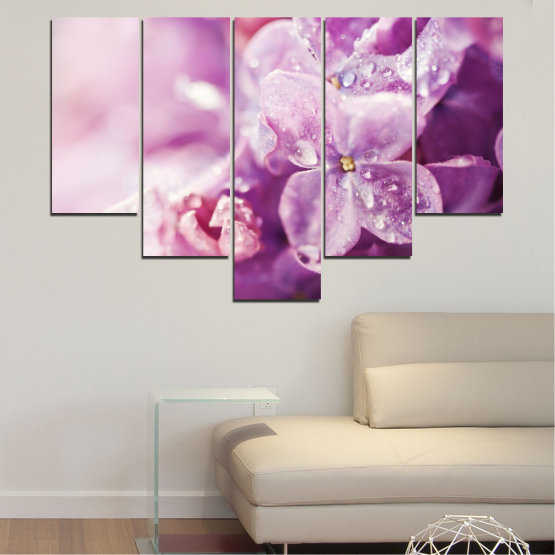 Canvas prints & wall decorative panels - 5 pieces №0170 » Purple, Gray, Milky pink, Dark grey » Flowers, Drops, Lilac Form #6