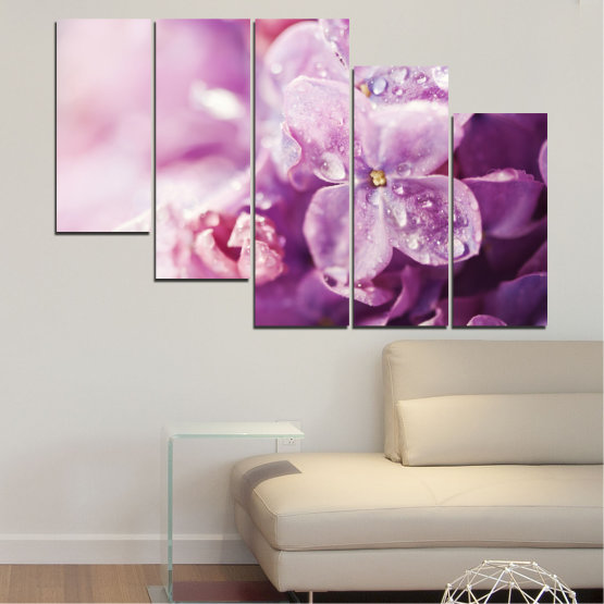 Canvas prints & wall decorative panels - 5 pieces №0170 » Purple, Gray, Milky pink, Dark grey » Flowers, Drops, Lilac Form #7