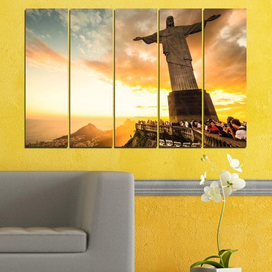 Canvas prints & wall decorative panels - 5 pieces №0173 » Yellow, Orange, Brown, Gray, White, Beige » Landmark, Rio de janeiro, Jesus, Statue Form #2