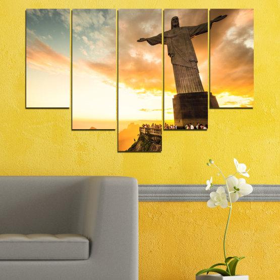 Canvas prints & wall decorative panels - 5 pieces №0173 » Yellow, Orange, Brown, Gray, White, Beige » Landmark, Rio de janeiro, Jesus, Statue Form #6