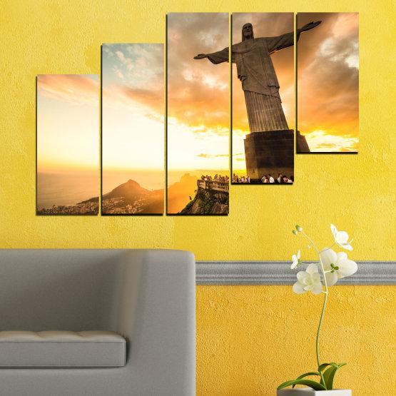 Canvas prints & wall decorative panels - 5 pieces №0173 » Yellow, Orange, Brown, Gray, White, Beige » Landmark, Rio de janeiro, Jesus, Statue Form #8