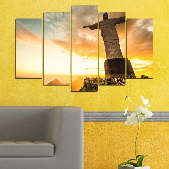 Canvas prints & wall decorative panels - 5 pieces №0173 » Yellow, Orange, Brown, Gray, White, Beige » Landmark, Rio de janeiro, Jesus, Statue Form #1