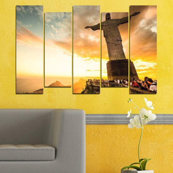 Canvas prints & wall decorative panels - 5 pieces №0173 » Yellow, Orange, Brown, Gray, White, Beige » Landmark, Rio de janeiro, Jesus, Statue Form #3