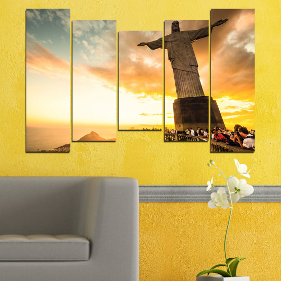 Canvas prints & wall decorative panels - 5 pieces №0173 » Yellow, Orange, Brown, Gray, White, Beige » Landmark, Rio de janeiro, Jesus, Statue Form #4
