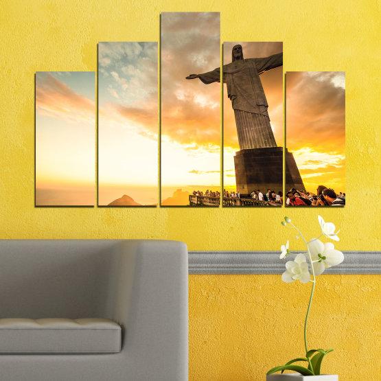 Canvas prints & wall decorative panels - 5 pieces №0173 » Yellow, Orange, Brown, Gray, White, Beige » Landmark, Rio de janeiro, Jesus, Statue Form #5