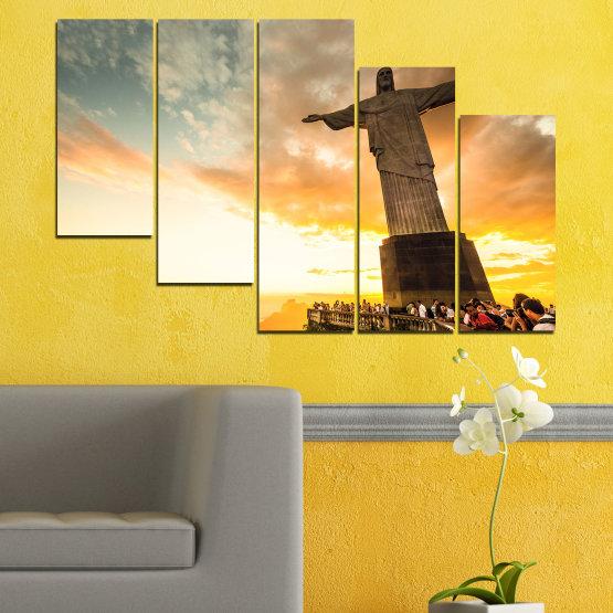 Canvas prints & wall decorative panels - 5 pieces №0173 » Yellow, Orange, Brown, Gray, White, Beige » Landmark, Rio de janeiro, Jesus, Statue Form #7