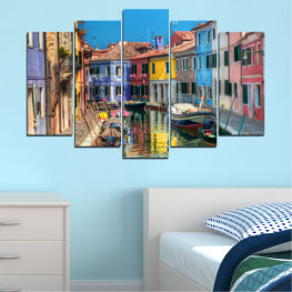 Water, City, Venice, Colorful, House, Boat, Canal » Blue, Turquoise, Yellow, Orange, Brown, Black, Gray, Milky pink, Dark grey