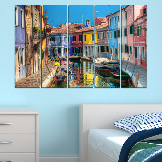 Canvas prints & wall decorative panels - 5 pieces №0174 » Blue, Turquoise, Yellow, Orange, Brown, Black, Gray, Milky pink, Dark grey » City, Water, Venice, Colorful, House, Boat, Canal Form #2