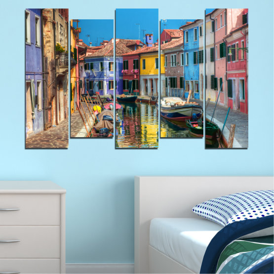 Canvas prints & wall decorative panels - 5 pieces №0174 » Blue, Turquoise, Yellow, Orange, Brown, Black, Gray, Milky pink, Dark grey » City, Water, Venice, Colorful, House, Boat, Canal Form #3