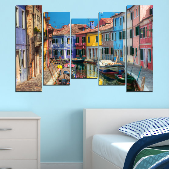 Canvas prints & wall decorative panels - 5 pieces №0174 » Blue, Turquoise, Yellow, Orange, Brown, Black, Gray, Milky pink, Dark grey » City, Water, Venice, Colorful, House, Boat, Canal Form #4