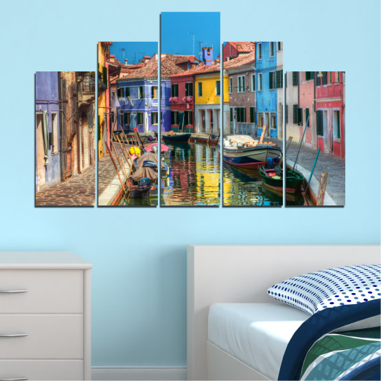 Canvas prints & wall decorative panels - 5 pieces №0174 » Blue, Turquoise, Yellow, Orange, Brown, Black, Gray, Milky pink, Dark grey » City, Water, Venice, Colorful, House, Boat, Canal Form #5