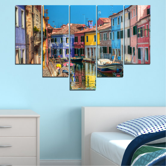 Canvas prints & wall decorative panels - 5 pieces №0174 » Blue, Turquoise, Yellow, Orange, Brown, Black, Gray, Milky pink, Dark grey » City, Water, Venice, Colorful, House, Boat, Canal Form #6