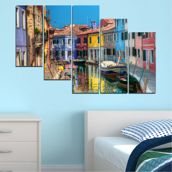 Canvas prints & wall decorative panels - 5 pieces №0174 » Blue, Turquoise, Yellow, Orange, Brown, Black, Gray, Milky pink, Dark grey » City, Water, Venice, Colorful, House, Boat, Canal Form #7