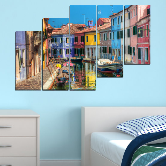 Canvas prints & wall decorative panels - 5 pieces №0174 » Blue, Turquoise, Yellow, Orange, Brown, Black, Gray, Milky pink, Dark grey » City, Water, Venice, Colorful, House, Boat, Canal Form #8