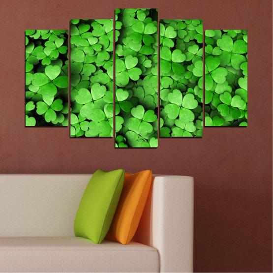 Canvas prints & wall decorative panels - 5 pieces №0175 » Green, Black » Flowers, Luck, Bouquet, Clover Form #1