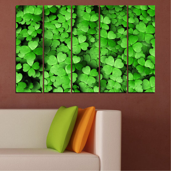Canvas prints & wall decorative panels - 5 pieces №0175 » Green, Black » Flowers, Luck, Bouquet, Clover Form #2