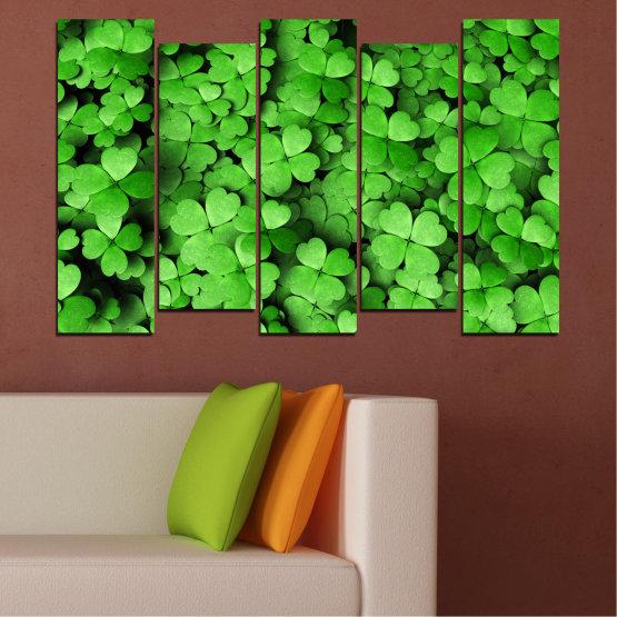 Canvas prints & wall decorative panels - 5 pieces №0175 » Green, Black » Flowers, Luck, Bouquet, Clover Form #3
