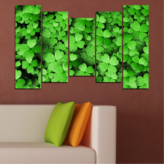 Canvas prints & wall decorative panels - 5 pieces №0175 » Green, Black » Flowers, Luck, Bouquet, Clover Form #4