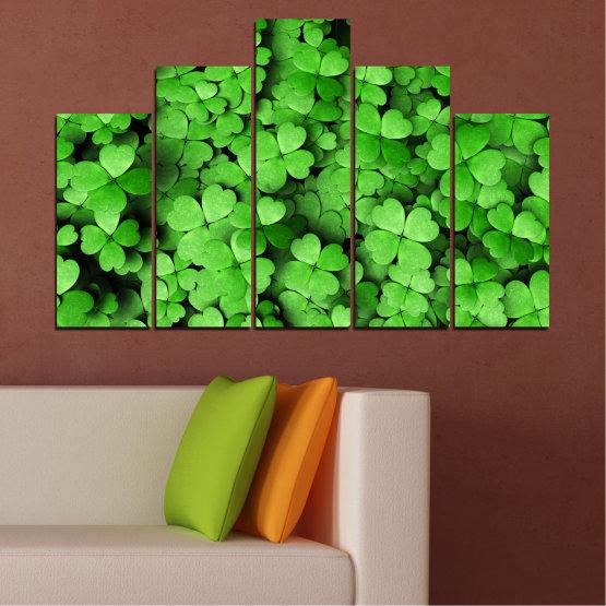 Canvas prints & wall decorative panels - 5 pieces №0175 » Green, Black » Flowers, Luck, Bouquet, Clover Form #5