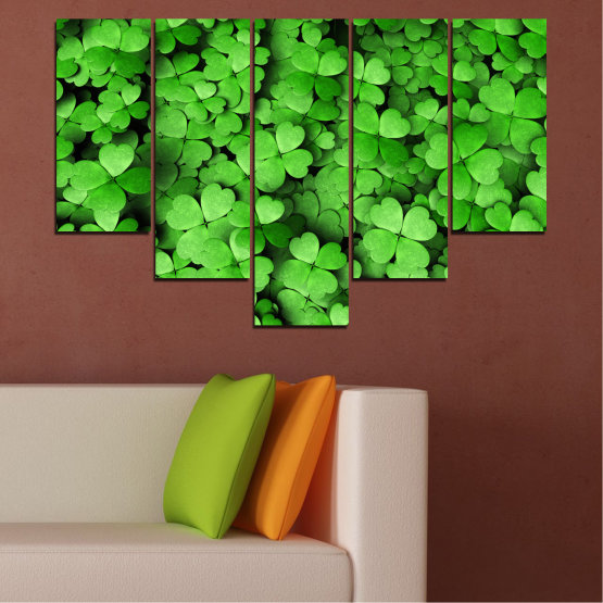 Canvas prints & wall decorative panels - 5 pieces №0175 » Green, Black » Flowers, Luck, Bouquet, Clover Form #6