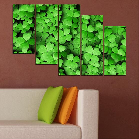 Canvas prints & wall decorative panels - 5 pieces №0175 » Green, Black » Flowers, Luck, Bouquet, Clover Form #7
