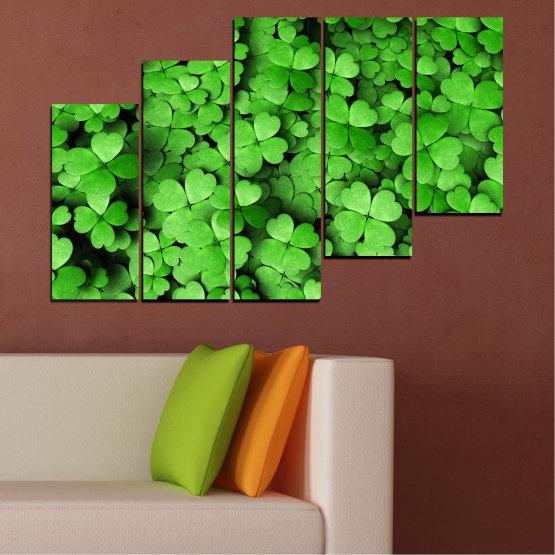 Canvas prints & wall decorative panels - 5 pieces №0175 » Green, Black » Flowers, Luck, Bouquet, Clover Form #8