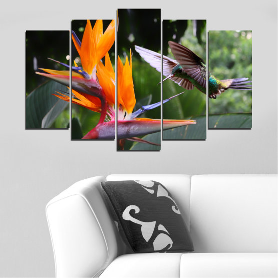 Canvas prints & wall decorative panels - 5 pieces №0176 » Pink, Green, Orange, Brown, Black, Gray, Dark grey » Flowers, Nature, Birds, Hummer Form #1