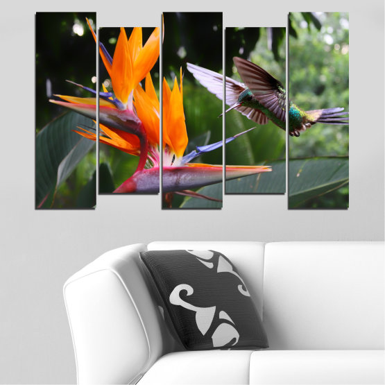 Canvas prints & wall decorative panels - 5 pieces №0176 » Pink, Green, Orange, Brown, Black, Gray, Dark grey » Flowers, Nature, Birds, Hummer Form #3