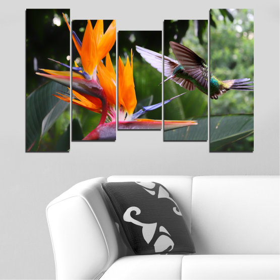 Canvas prints & wall decorative panels - 5 pieces №0176 » Pink, Green, Orange, Brown, Black, Gray, Dark grey » Flowers, Nature, Birds, Hummer Form #4