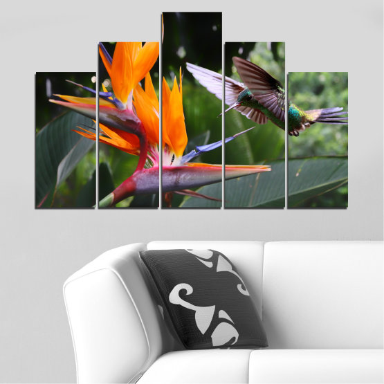 Canvas prints & wall decorative panels - 5 pieces №0176 » Pink, Green, Orange, Brown, Black, Gray, Dark grey » Flowers, Nature, Birds, Hummer Form #5