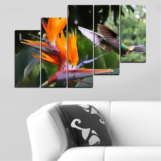 Canvas prints & wall decorative panels - 5 pieces №0176 » Pink, Green, Orange, Brown, Black, Gray, Dark grey » Flowers, Nature, Birds, Hummer Form #8