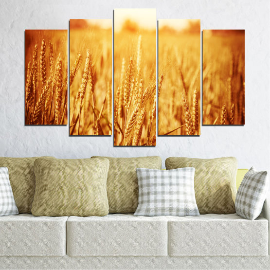 Canvas prints & wall decorative panels - 5 pieces №0177 » Yellow, Orange, Brown, Beige » Sun, Autumn, Wheatear, Field Form #1
