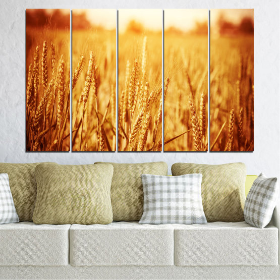 Canvas prints & wall decorative panels - 5 pieces №0177 » Yellow, Orange, Brown, Beige » Sun, Autumn, Wheatear, Field Form #2