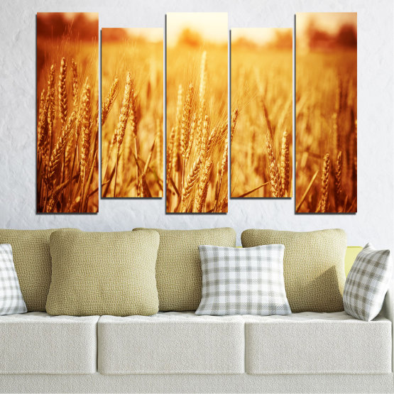 Canvas prints & wall decorative panels - 5 pieces №0177 » Yellow, Orange, Brown, Beige » Sun, Autumn, Wheatear, Field Form #3