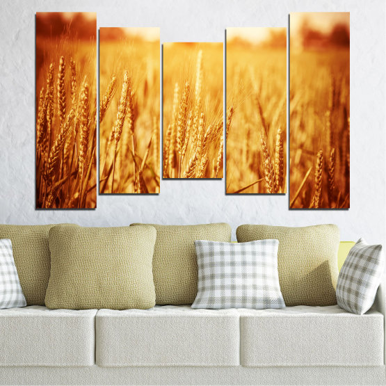 Canvas prints & wall decorative panels - 5 pieces №0177 » Yellow, Orange, Brown, Beige » Sun, Autumn, Wheatear, Field Form #4