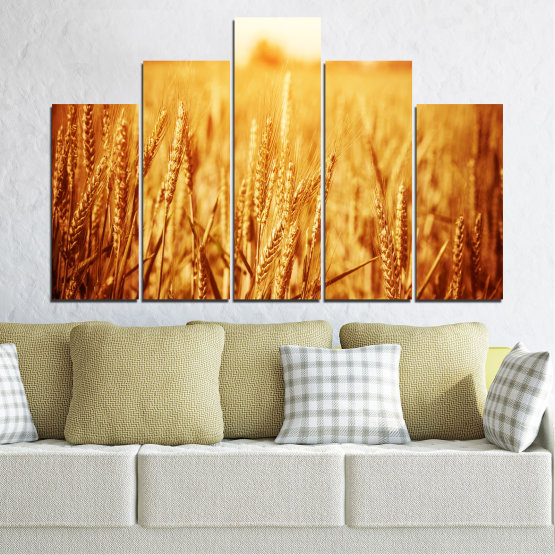 Canvas prints & wall decorative panels - 5 pieces №0177 » Yellow, Orange, Brown, Beige » Sun, Autumn, Wheatear, Field Form #5