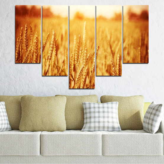 Canvas prints & wall decorative panels - 5 pieces №0177 » Yellow, Orange, Brown, Beige » Sun, Autumn, Wheatear, Field Form #6
