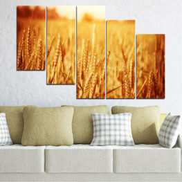 Декоративни панели и картини от канава - от 5 части №0177 Слънце 7-ма Форма
