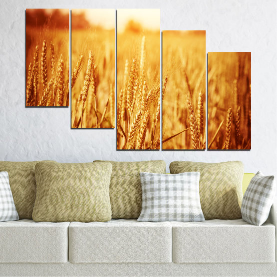 Canvas prints & wall decorative panels - 5 pieces №0177 » Yellow, Orange, Brown, Beige » Sun, Autumn, Wheatear, Field Form #7