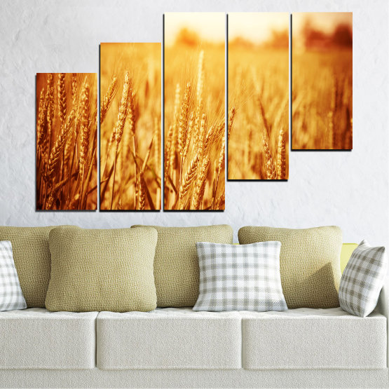 Canvas prints & wall decorative panels - 5 pieces №0177 » Yellow, Orange, Brown, Beige » Sun, Autumn, Wheatear, Field Form #8