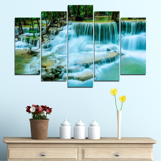Canvas prints & wall decorative panels - 5 pieces №0179 » Turquoise, Green, Black, Gray, Dark grey » Nature, Waterfall, Landscape, Forest, Water Form #1