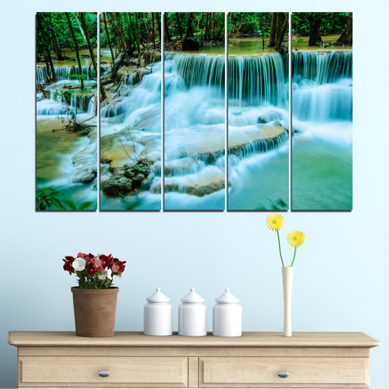Canvas prints & wall decorative panels - 5 pieces №0179 » Turquoise, Green, Black, Gray, Dark grey » Nature, Waterfall, Landscape, Forest, Water Form #2