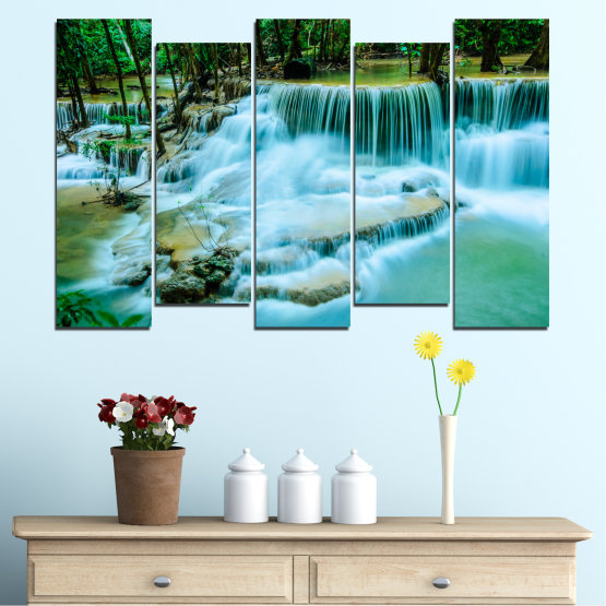 Canvas prints & wall decorative panels - 5 pieces №0179 » Turquoise, Green, Black, Gray, Dark grey » Nature, Waterfall, Landscape, Forest, Water Form #3