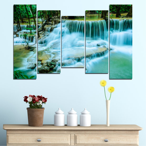 Canvas prints & wall decorative panels - 5 pieces №0179 » Turquoise, Green, Black, Gray, Dark grey » Nature, Waterfall, Landscape, Forest, Water Form #4